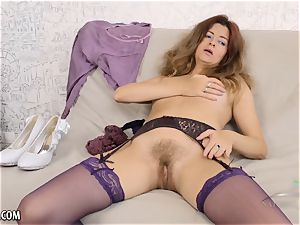 super-fucking-hot mature stunner with furry slit in lingerie