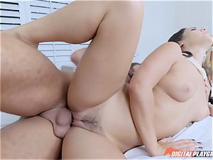black-haired Eva Lovia vulva boned by a frat grizzly with giant chisel