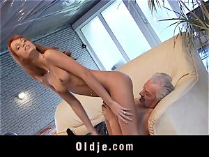 Oldman Gustavo happy to bang beautiful Erica Fontes